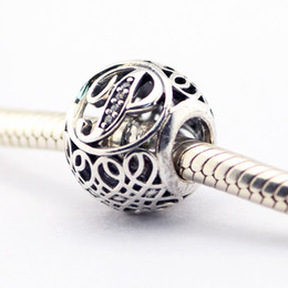 Vintage Letter P Clear CZ Beads Fits Pandora Bracelets Beads Authentic Sterling-Silver Beads DIY Charm Wholesale Charms LE015-p