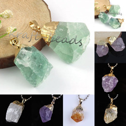 Wholesale 10Pcs High Quality Different Style ReiKi Quartz Crystal Stone Gold Plated Pendant Fashion Jewelry (Random In Shape)