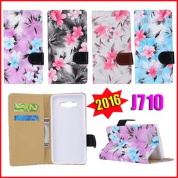 Wholesale For J7 version Lovely Flower Pattern Floral Print PU Leather Wallet Flip Cover Case for Samsung Galaxy J710 Inventory gift