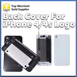 Back Glass Battery Housing Door Cover Replacement Part GSM for iphone 4 4S Black White Color A quality free DHL