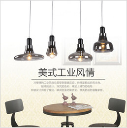 Loft Glass Pendant Light Smoke Grey Edison Hanging Light Fixture For Kitchen Bar Living Room E27 bocci Droplights