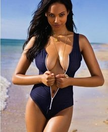 Wholesale Bikini Outdoors Female Swimsuit Siamese Triangle Motion Sense Zippered Cover Belly Swimsuit S Code And Spa