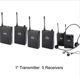 Hot 2016 Top Quality Professional Sets UHF Tour Guide Wireless System 1 Transmitter 5 Receivers Cheap Teaching Solution Free shipping