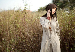 Wholesale Vestido de las mujeres del amante de Corea vestido y verano flojo de lino largo viste a mujeres saias femeninas Dos colores para la selección Azul claro y lino sin procesar