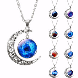 Wholesale Choker Necklace Glass Galaxy Lovely Pendant Silver Chain Moon Necklace New Fashion Jewelry Collares Friend Best Gifts