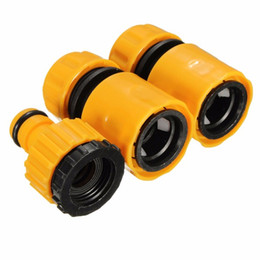 """2016 New Useful 3PC 1 2"""" 3 4'' Hose Pipe Fitting Set Quick Yellow Water Connector Adaptor Garden Lawn Tap"""