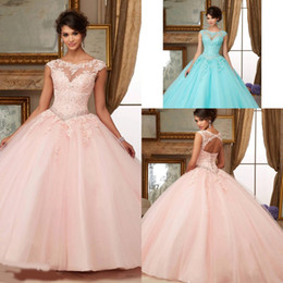 Wholesale 2016 Ball Gown Coral Quinceanera Dresses Sweetheart Beads Crystals Sweet Prom Dresses Plus Size Gowns