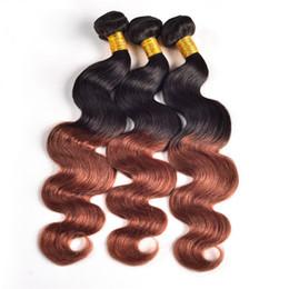 "Wholesale - 12"" -30''Ombre Brazilian Hair Ombre Body Wave T1B#33 100g pcs 3pcs lot Remy human Hair Weave"