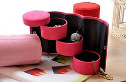 Promotion boîtes à bijoux dames 100pcs 3 Couches Voyage Vocation Coffret à bijoux Pour Collier Boucle d'oreille Bague Boîte de rangement Lady solide flanelle Fleece Cylinder Container Case ZA0811