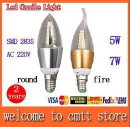 2017 les types d'incendie x5 Livraison gratuite 5w LED 7W Candle light E14 / E27 SMD 2835 Led lampe AC220V rond / feu type angle 360 de faisceau 2 ans de garantie les types d'incendie sortie