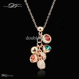Elegant Imitation Crystal CZ Diamond Grape Necklaces & Pendants Fashion Brand Vintage Jewelry Jewellery For Women Accessiories DFN027