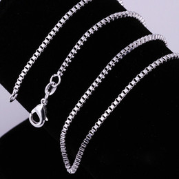 Wholesale MM Sterling Silver Necklace Box Link Chains Jewelry quot quot quot quot quot quot quot quot sizes Choose