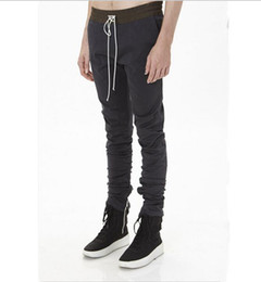 Wholesale-khaki Black korean hip hop fashion Straight Skinny pants side zippers mens urban clothing joggers men pants