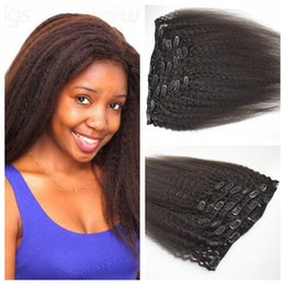 Top Grade indian Human Hair Yaki Straight Clip In Hair Extensions 7Pcs set 100g Clip In Human Hair Extensions for black women G-EASY