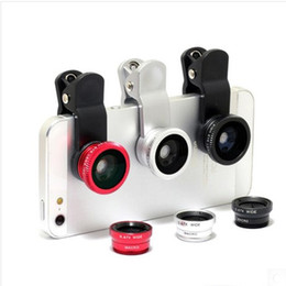 Wholesale Mobile Phone camera Lens For iPhone for Samsung S7 s7 edge for huawei in1 Wide Angle Len Fisheye Lens Wide Angle Macro Clip