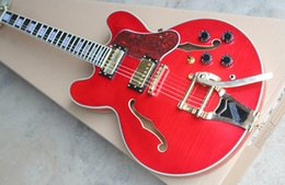 Descuento guitarras llama roja ¡¡Gran venta!! De calidad superior de la tienda de Tigre rojo arce flameado modelo 335 con el trémolo de guitarra eléctrica del jazz semi hueco del cuerpo del envío libre