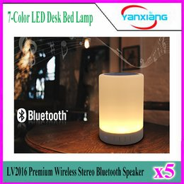 Wholesale 5pcs Wireless Stereo Bluetooth Speaker Box LV2016 Premium Color LED Desk Bed Lamp Eyes Protection Hands free YX LV
