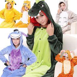 Wholesale Adult Flannel Poke Pajamas Animal Onesies Anime Cosplay Sleepwears Halloween Costume Hoodies Unisex Rompers Winter Kigurumi Homewears