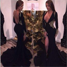 Sexy Mermaid Prom Dresses Deep V Neck Long Sleeves Gold Lace Applique Split Backless Evening Party Gown vestidos de noche Plus Size