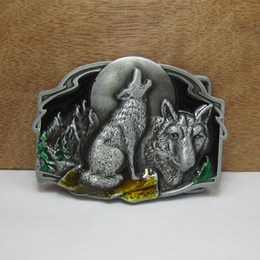 BuckleHome wolf belt buckle animal belt buckle jeans belt buckle with pewter plating FP-02515 free shipping