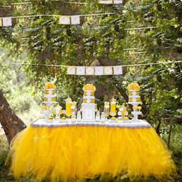 Wholesale 1 m Yellow Tulle Table Covers Ruffles Mew Simple Cheap Custom Made Factory Sale Wedding Suppliers Table Cloth For Party Formal Event
