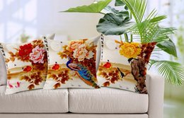 King Of Birds Peacock Birds On A Pilgrimage Bright Red Peony Pillow Case Cover Massager Decorative Pillows Propitious Gift