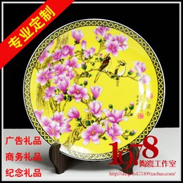 Wholesale custom Jingdezhen porcelain Home Furnishing decorative porcelain plates hanging plate business advertising gift book mark