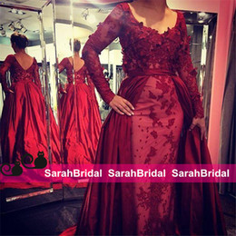 2019 Elie Saab Dark Red Evening Dresses with Long Sleeves Detachable Train Arabic Party Applique Bridal Red Carpet Prom Gowns Formal Wear
