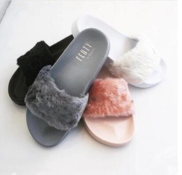 Wholesale Slip Basketball Shoes - Free shipping 2016 Girls and Womens rihanna leadcat fenty slippers in Grey,Black,Pink and White fenty rihanna shoes in top quality