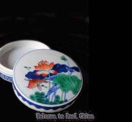 Wholesale REAL CHINA YinHe Lotus White and Blue Glaze Constracting Colors Ceramic Ink Pad Purely Manual Delicate Porcelain