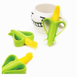Wholesale Health And Environmentally Banana And Corn Shape BPA Free Silicone Safe Baby Toothbrush For Baby Teether Teething