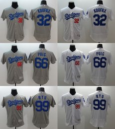 Wholesale 2016 Newest Elite Los Angeles Dodgers Men s Koufax Yasiel Puig Hyun Jin Ryu White Grey Flexbase Authentic Collection Jerseys