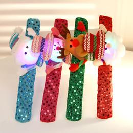 Wholesale Christmas Decoration Hallowmas Lighted Led Clap Sequin Bracelet Cloth Art Clap Circle Kid Brian Circle Children Shine Ball Bracelets