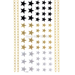Temporary Tattoo Sticker Metallic Gold Foil Tattoo Flash tattoos 1pcs Gold Silver Waterproof tattoo sticker