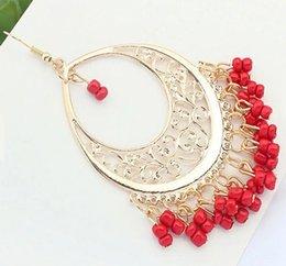 Wholesale Women Bohemian Beaded Cut out Fringe Drop Dangle Earrings