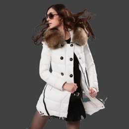 Winter Ladies Jackets Real Fur Collar Parka Women Down Coat Double Row Button Slim Fasion Parka