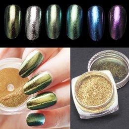 Wholesale 2g box Magic Mirror Powder Nails Gold Silver Pigment Aluminium Dust Nail Glitter DIY Acrylic Powder Colors