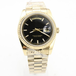 New Day-Date Series Men's high quality luxury watches 18K gold Sapphire Black Surface Original strap Luxury brand watches