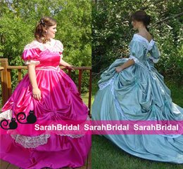 Wholesale Custom Made Southern Belle Victorian Bridal Civil War Steampunk A Line Ball Gown Skirt Taffeta and Lace Cheap Vintage Retro Wedding Dresses