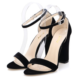 Newest Women Pumps Open Toe Sexy Ankle Straps High Heels Shoes Summer Ladies Bridal Suede Thick Heel Pumps