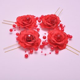 DHL Free Shipping Wholesale Fashion Europe and American Bride Red flower plate U shape hairpin Wedding Stick Jewelry hair accessories