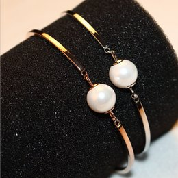 2016 Hot Sale Fashion Style Women Pearl Bracelets & Bangles Platinum   Rose Gold plated Jewelry Vintage Accessories