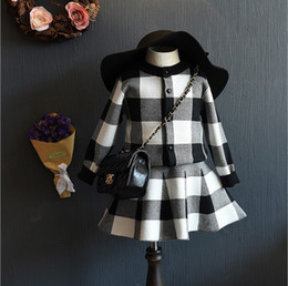 Wholesale Knitted Children Clothes - New Little Girls Autumn Knit Set Plain Cardigan Grid Checks Coat Skirt Sets 2 pieces Pullover Jumper Great Children Dress Kids Clothes