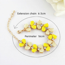 Yellow Color Simulated Gemstone Adjustable Bangles Charm Women Love Bracelet Chain & Link Bracelets Cheap Chain & Link Bracelets