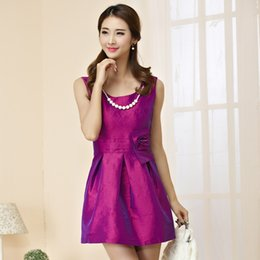 Wholesale 2016 Summer new Fashion Satin Ball Gown for evening Party Princess Large Sizes Sleeveless Draped Short Vest Dress for Women Purple Green