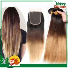 Ombre Peruvian Virgin Human Hair Straight 3 Bundles With Closure Three Tone 1B 4 27 Blonde Ombre Hair Bundle Deals With Lace Closure
