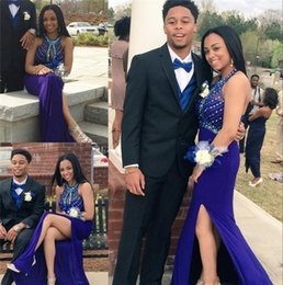 Wholesale Couples Same T Shirt - 2016 Couple Fashion African Arabic Split Prom Dresses Keyhole Neck Split Mermaid Evening Dresses Crystal Beaded Formal Pageant Party Gowns
