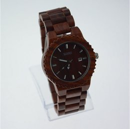 Wholesale Bamboo wood table watch factory business natural wooden watch men luxury brand antique watches shockproof quartz watch Red W5608