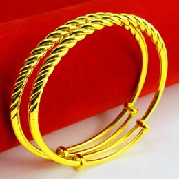 Our jewelry gold bracelet women push pull rope twist contraction section lines smooth send mother old jewelry