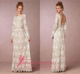 Gorgeous 2019 Sheath Wedding Dresses Illusion Bodice Jewel Long Sleeve Vintage Garden Beach Boho Court Train Bridal Gowns